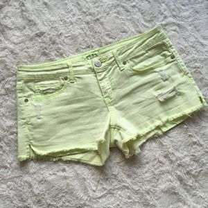 AEROPOSTALE Distressed Lime Green Shorts Sz 5/6